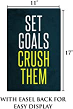 """King Props LLC Inspirational Wall Art – Set Goals Crush Them – Motivational Sign for Business, Office, or Home – 11"""" X 17"""""""