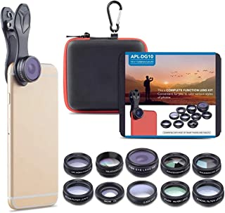 Apexel 10 in 1 Cell Phone Camera Lens Kit Wide Angle Lens & Macro Lens+Fisheye Lens+Telephoto Lens+CPL/Flow/Radial/Star Fi...