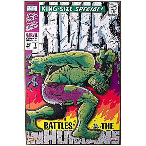 Price comparison product image Silver Buffalo MV6371 Marvel Hulk Battles the Inhumans 3-D Wood Wall Art,  13 x 19 inches