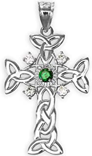 14k White Gold Celtic Knot Trinity Cross Diamond Pendant with Genuine Emerald