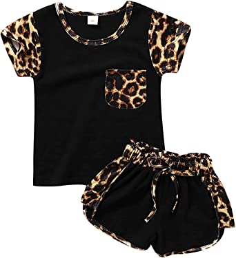Toddler Kids Baby Girl Summer Outfits Short Sleeve T Shirt Top Leopard Shorts Pants Clothes Set