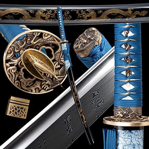 Battle Ready Katana,Full Tang Sword Katana,Authentic Samurai Sword,Damascus Steel,Japanese...