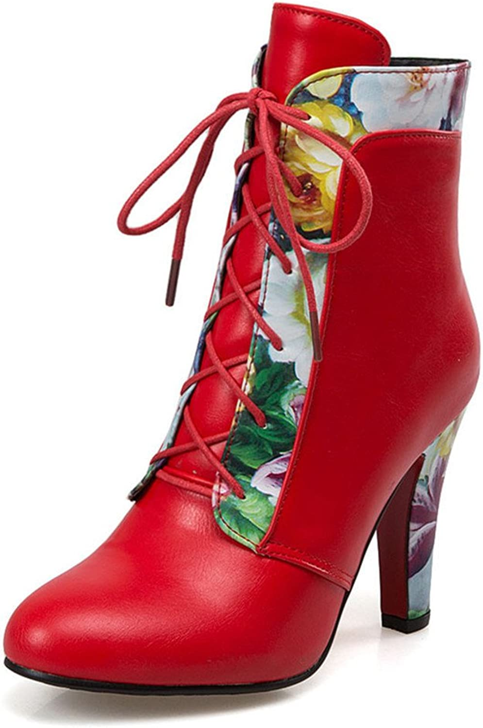 mode mode mode Heel Woherrar Chunky Heel Round Toe Flower Print Lace Up Ankle Booslips  bästa mode