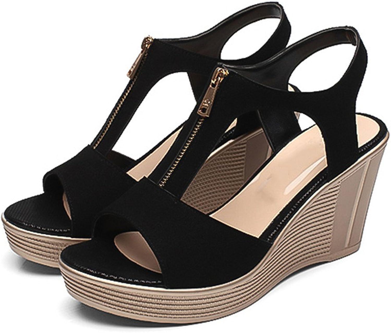 Chaidan Women Sandals Casual Women shoes Platform Summer Wedges Sandlas Peep Toe Ladies shoes Black