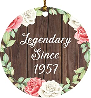 64th Birthday Legendary Since 1957 - Circle Wood Ornament A Christmas Tree Hanging Decor - for Friend Kid Daughter Son Gra...