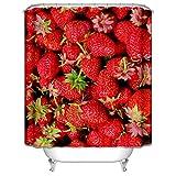 Beydodo Duschvorhang Antischimmel Obst Erdbeeren 3D Lustiger Duschvorhang 180x200 cm
