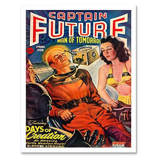 Wee Blue Coo Comics Captain Future Days Creation Science Fiction Art Print Framed Poster Wall Decor Kunstdruck Poster Wand-Dekor-12X16 Zoll