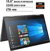 2019 HP Envy x360 15.6 Inch FHD 2-in-1 Touchscreen Laptop (AMD Ryzen 5 2500U 4-Core up to 3.6GHz, 32GB RAM, 2TB HDD, AMD Radeon Vega 8, Backlit KB, WiFi, Bluetooth, HDMI, Win10) (Renewed)