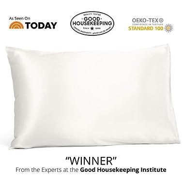 Fishers Finery 25mm 100% Pure Mulberry Silk Pillowcase Good Housekeeping Winner (White, Standard)