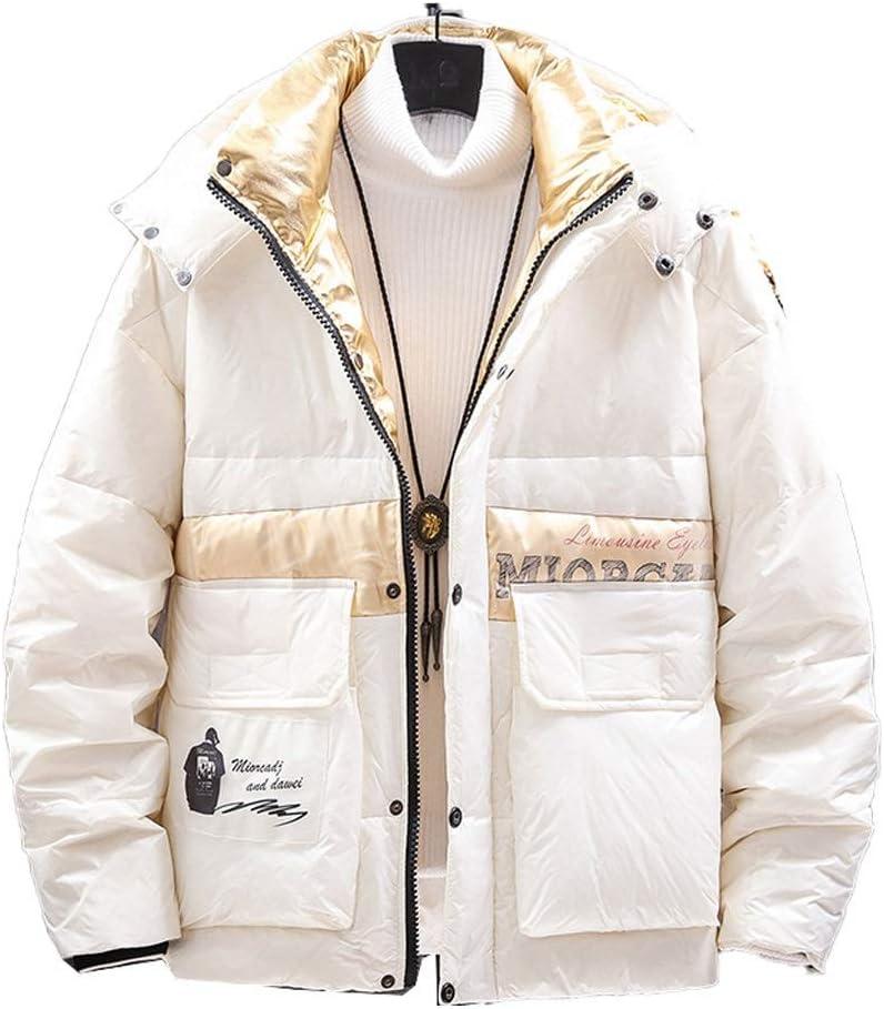 DIAOD Mens Down Jacket Men Winter Cargo Jacket Coat Black Patchwork Hooded Windproof Streetwear Jackets Men (Color : White, Size : Large)