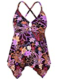 Firpearl Women's Black Flowy Swimsuit Crossback Plus Size Tankini Top US22 Red Floral