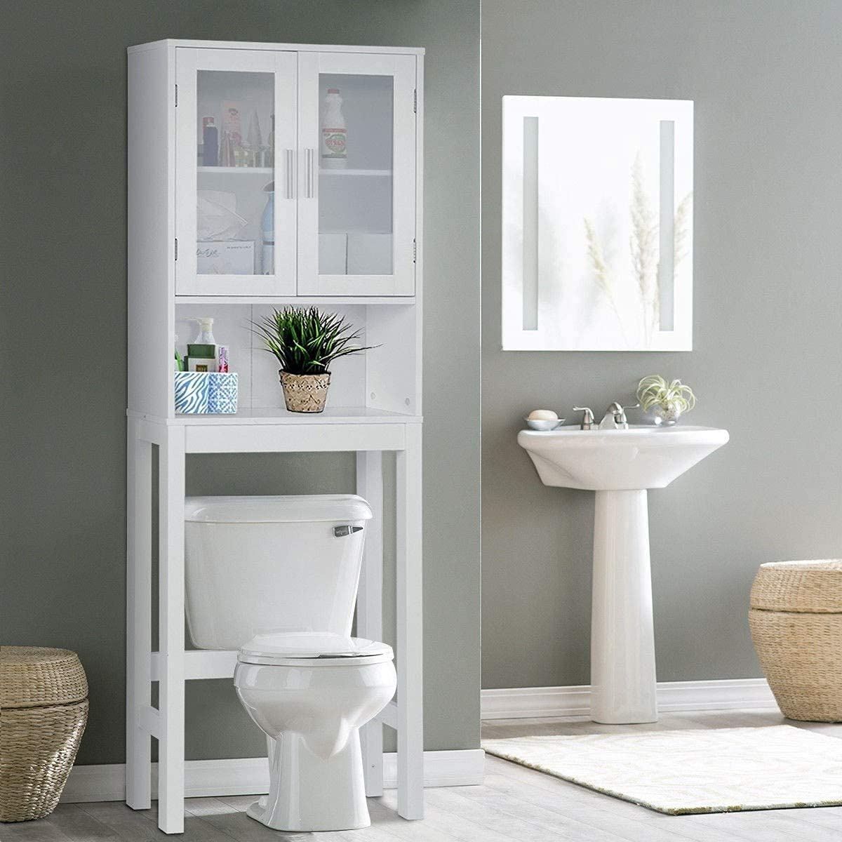 BestComfort Japan's largest assortment Wooden Over The Toilet Cabinet Bathroo Home Under blast sales Storage