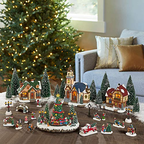 FCV Hand-Painted Exquisite Lighted 30-Piece Holiday Musical Indoor Decorative Christmas Village Set
