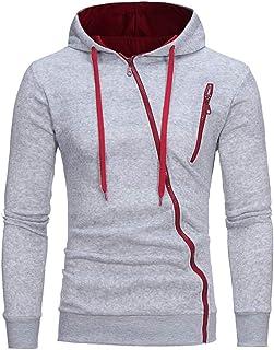 Felpa con Cappuccio da Uomo Giacca Manica Lunga Slim Fit Zip Sportivo Outwear Sottile con Coulisse giacce Pullover Sweatsh...