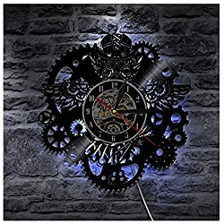 Steampunk Owl Wall Art Wall Clock Vintage Vinyl Record Clock Home Decor Gear COG Night Owl Steampunk Personalized Wall Clock with LED