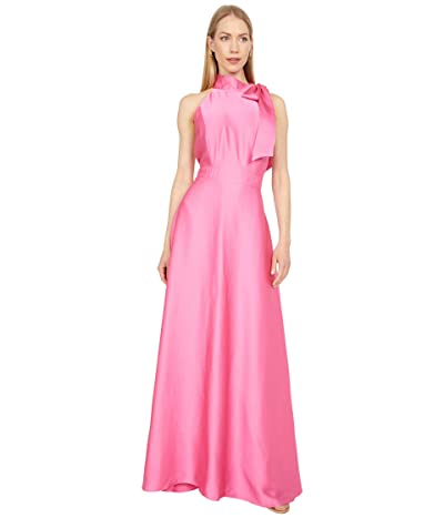 Tahari by ASL Mock Neck Maxi with Side Shoulder Bow Detail