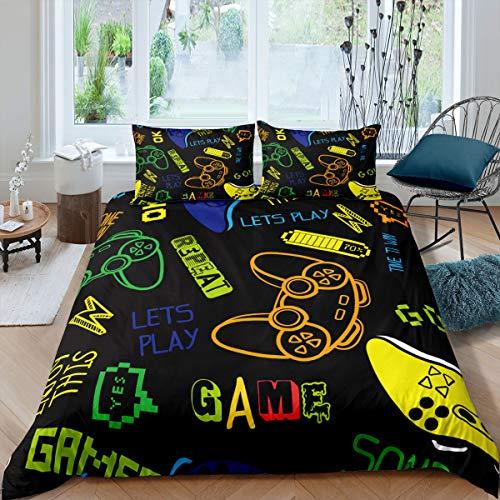 Kinder-Bettwäsche-Set mit Cartoon-Spielen, für Jungen und Mädchen, Gamer, modernes Gamepad, Bettbezug, Aquarell, Videospiele, dekoratives 3-teiliges Bettwäsche-Set mit 2 Kissenbezügen, volle Größe