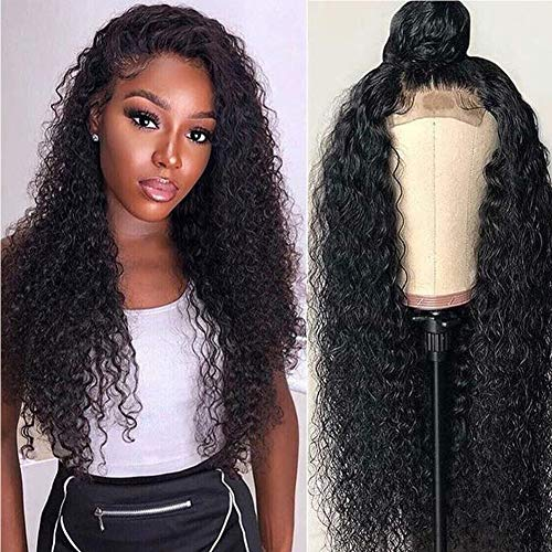 Long Curly Lace Front Human Hair Wigs Kinky Curly Wig 4x4 Lace Closure Wig Pre Plucked Brazilian Virgin Remy Wig With Baby Hair For Black Women(18inch,150Density)