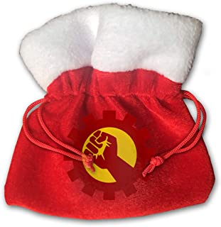 Communist Fist 6x6 Inches Red Drawstring Velvet Holiday Party Christmas Favor Gift Bags