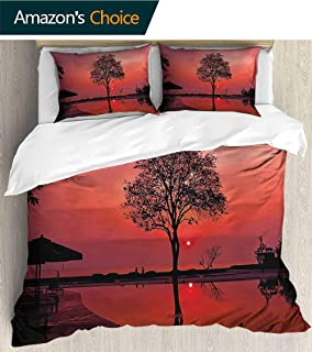 PRUNUSHOME Sleep Restoration Luxury Bed Sheets of Misty Twilight Sky with Tree and Nature Reflections Exotic Image Black Ruby Cool Breathable - Queen