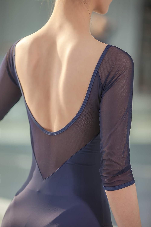 Whitewed Ladies 3/4 Sleeve Mesh Leotard Dancewear V Neck Low V Back Self Lining