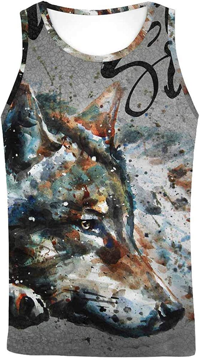 InterestPrint Men's Muscle Gym Workout Training Sleeveless Tank Top Watercolor Peacock Branches