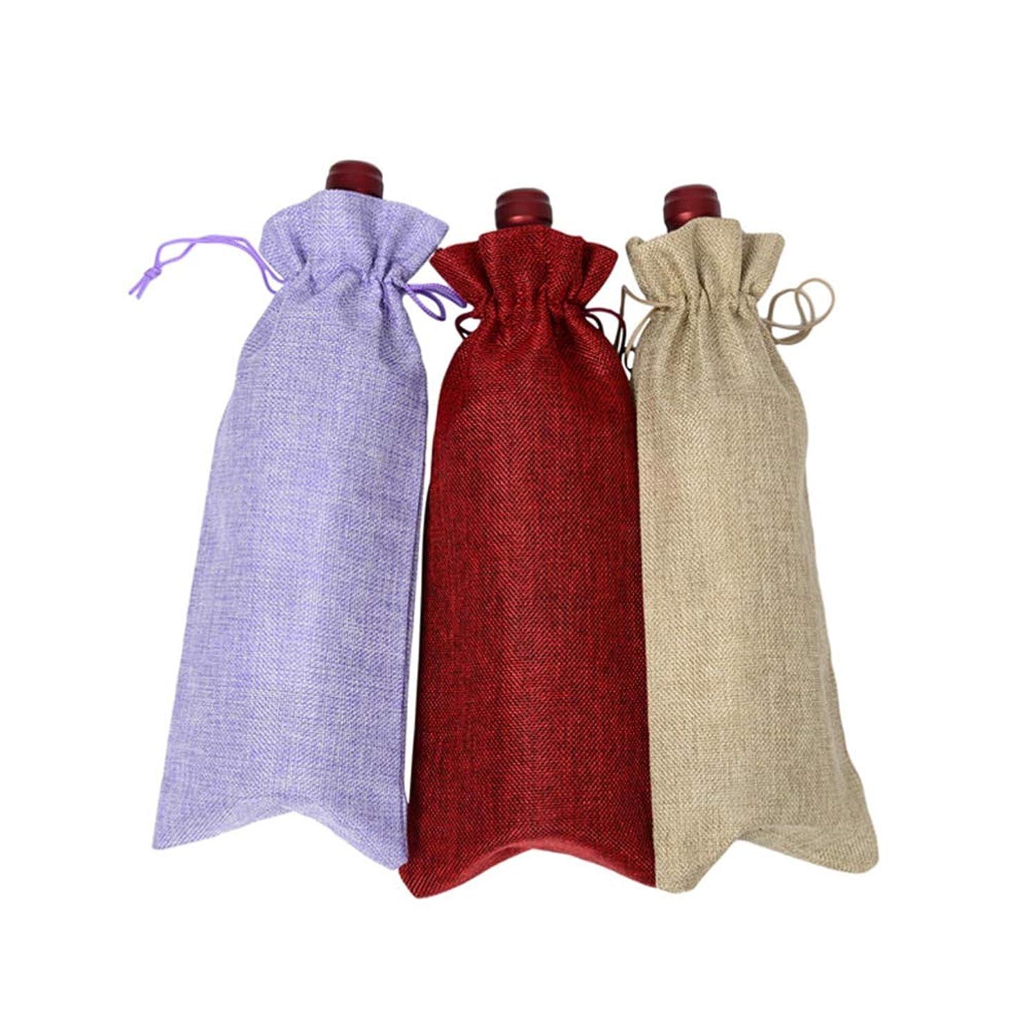 それによって明確に大人BESTONZON 5ピースワインボトルバッグ巾着再利用可能な黄麻布ワイントートバッグギフトポーチボトルラップキャンディ携帯電話赤ワイン
