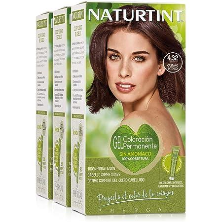 Naturtint Coloración 4.32 Castaño Intenso, 100% Cobertura de canas y Hidratación, Ingredientes Vegetales y Aceites 100% Biobotánicos, Color Natural y ...