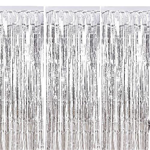 Fringe Cortina ManYee 3 Piezas Sliver Metálico Foil Fringe Curtain Sh