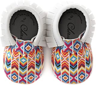 Multi-Colored Rainbow Printed Design Moccasin 100% American Leather Moccasins for Babies & Toddlers Made in US