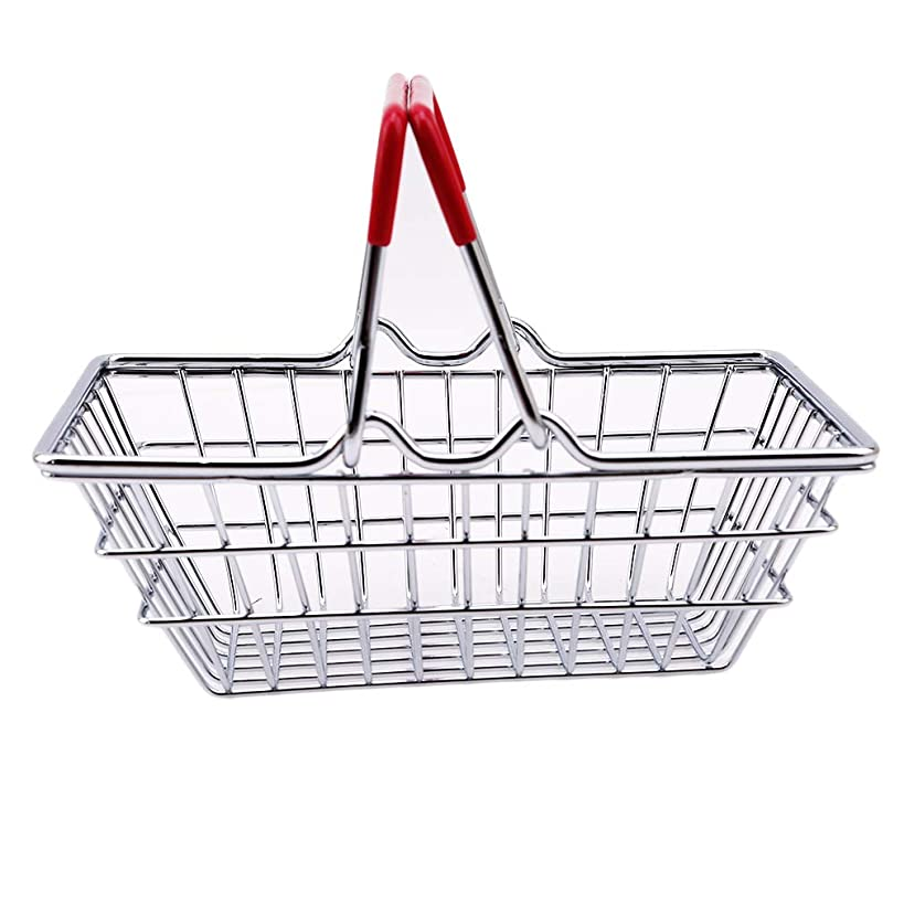 Dolland Mini Small Metal Shopping Hand Basket Storage Kids Role Play Toys Children Early Learnig Toy,Small red