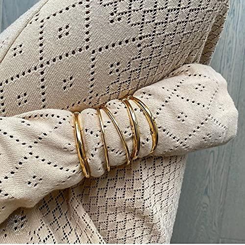 PPuujia Brazaletes de acero inoxidable con nudo mínimo trenzado para mujer de 18 quilates de acero inoxidable con relleno de oro de 18 quilates (color de la gema: RoundLine 60 mm)