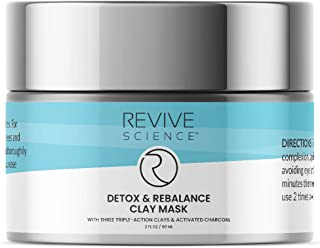 Revive Science Clay Face Mask - Kaolin Clay, Organic Lecithin, & Activated Charcoal - Detox and Brighten Dark Spots, Acne Scars, & Minimize Pores- Skin Care For Men and Women, All Skin Types - 2 FL