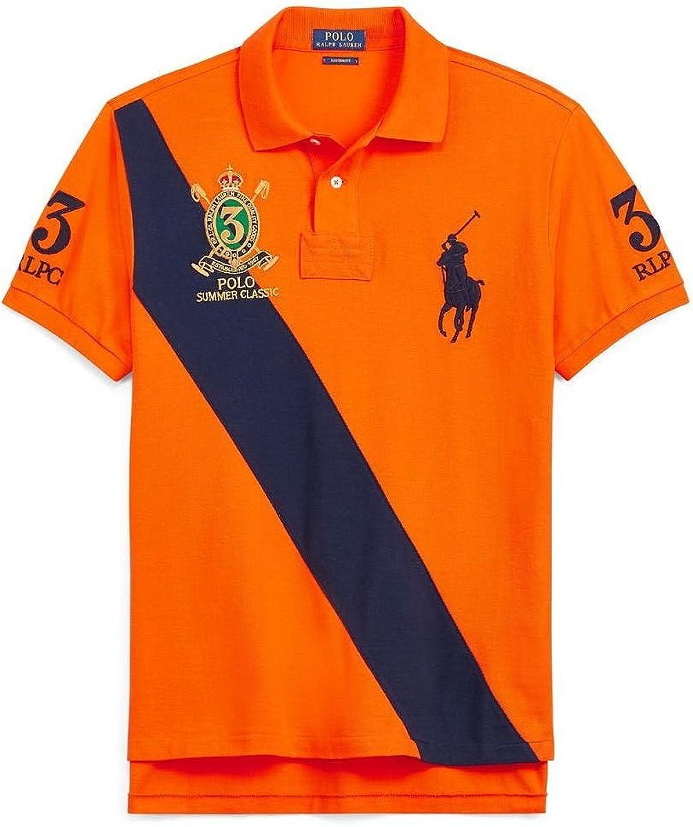 Polo Ralph Lauren Custom Fit Mesh Men's Polo Shirt (Fiesta Orange ...
