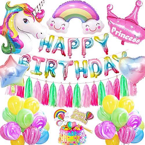 AYUQI Einhorn Geburtstagsdeko Mädchen,Bunt Happy Birthday Banner Set mit Einhorn Folienballon Latex Konfetti Luftballons Partydekoration für Kinder Jungen Mädchen Teenager