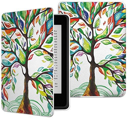 Capa para Kindle Básico da 8a geração - Estampada - Rígida - Fecho Magnético - Hibernação - Base Branca (Árvore da Vida)