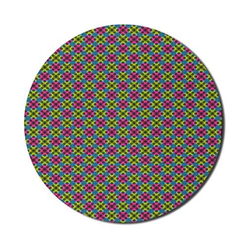 Alfombrilla de ratón abstracta para ordenadores, círculos de colores con discos de arte pop digital de pequeñas rondas interiores, alfombrilla de ratón redonda antideslizante de goma gruesa para juego