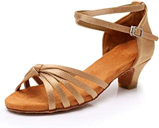 Women's Satin Latin Dance Shoes Ballroom Salsa Tango Performance Shoes Low Heel Model-SS-XGG