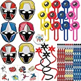 Power Rangers Ninja Steel Birthday Party Favor Pack For 12 With Pencils, Power Rangers Paper Masks, Tattoos, Ninja Star Sticky Toys, Disc Shooters, and Exclusive Pin By Another Dream