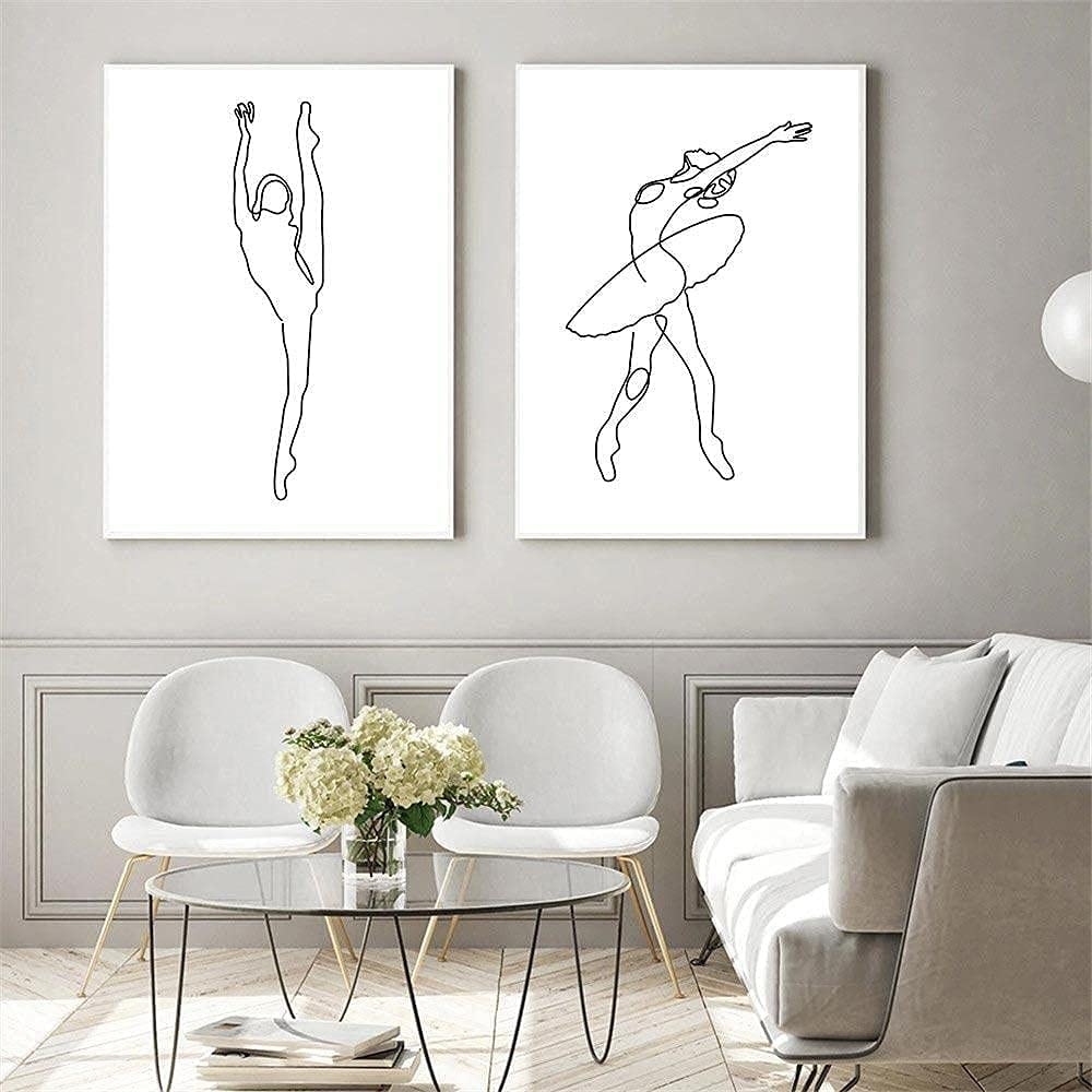 Japan's largest assortment ZGWEI Wall Art Abstract Ballet Girls Drawing One Line NEW before selling Posters an