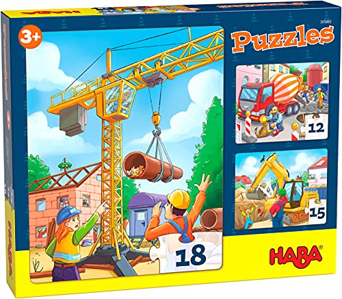HABA 305883-Puzzles Baustellenfahrzeuge, Puzzle AB 3 Jahren
