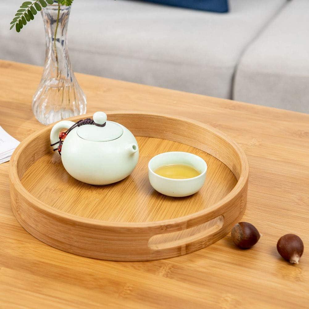 wiFndTu Bambus-Serviertablett rund Butler Tablett Fr/ühst/ück Abendessen Serviertablett Servierplatten f/ür Kaffee Wein Cocktail Obst Mahlzeiten L