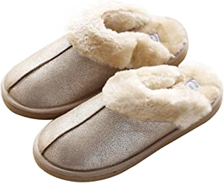 GaraTia Mens Slipper Memory Foam Fluffy Slip-on House Suede Fur Lined/Anti-Skid Sole, Indoor & Outdoor