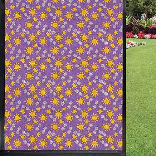 Película de verano para ventana no adhesiva, para oficina en casa, extraíble, color violeta y naranja oscuro, gris pardo cálido y rosa bebé, 60 x 90 cm