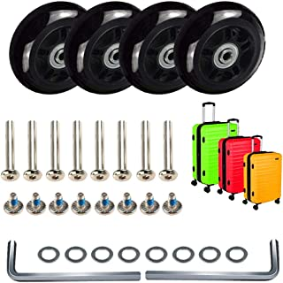 Luggage Suitcase Replacement Wheels, Mute Wear-Resistant Rubber Swivel Caster Wheels Repair Sets,Free Axles Wrench Deluxe Repair …