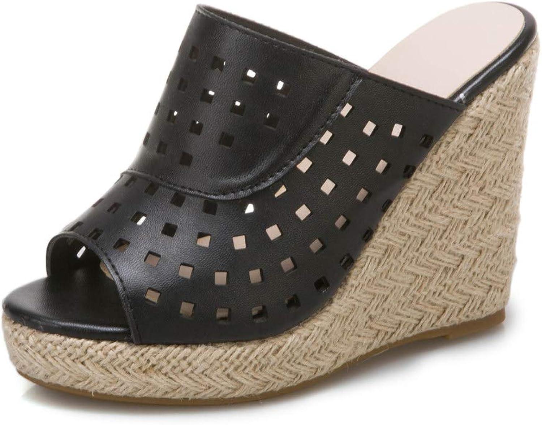 Women's Peep Toe Platform Espadrille Wedge Sandals Perforated Cutout Slingback Slip On Slide Slippers