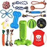 KIPRITII Dog Chew Toys for Puppy - 15 Pack Puppies Teething Chew Toys for Boredom, Pet Dog Toothbrush Chew Toys with Rope Toys, IQ Ball and More Squeaky Toy for Puppy and Small Dogs