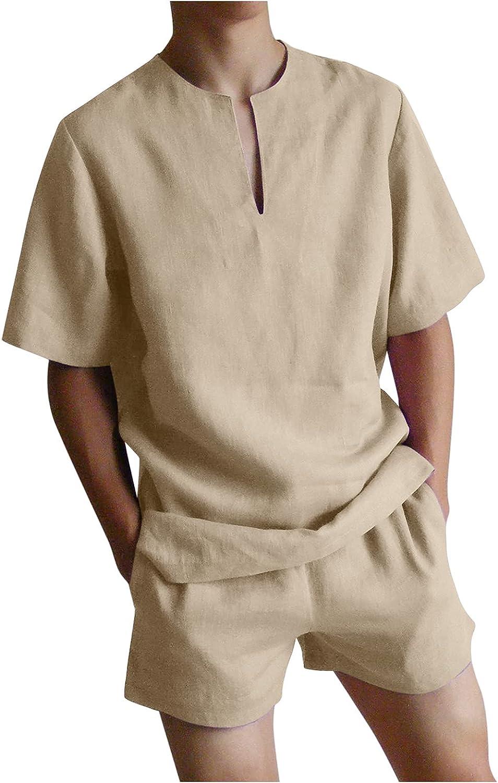 QWENTMTNTY Mens 2 Piece Outfits Casual Short Sleeve Linen Shirt Summer Sports T-Shirt and Shorts Set Tracksuits Yoga Pack
