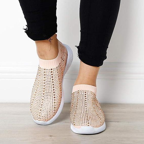 KEJINKCSEE Womens Crystal Rhinestone Bling Sport Sneakers Flying Weaving Sock Shoes Trainers Slip On Sport Shoes