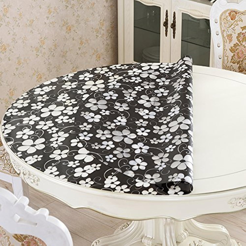 HL-PYL - PVC-Runde Tisch Tischdecke Farbe Soft Glas runder Tisch Matte wasserdicht Runde Tischdecke Anti Öl Anti Bügeln Kaffee- Matte Schwarz 100 cm Kreis B0784S9K62 Gewinnen Sie hoch geschätzt   | Attraktives Aussehen
